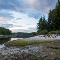 Kayaks at camp in coastal British Columbia | Jenn Dickie Photography
