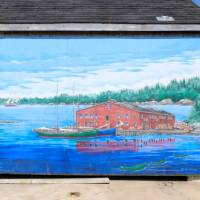 A colourful mural reflects the maritime atmosphere
