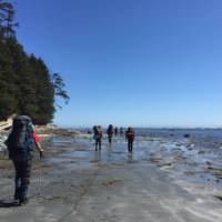 North Coast Trail hikers on a beach section