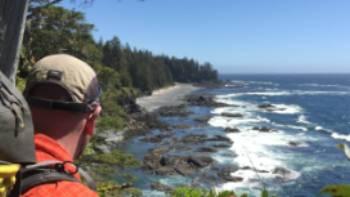 Admiring the rugged coastline on the North Coast Trail