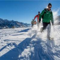 Idyllic snowshoeing conditions in the beautiful Rocky Mountains
